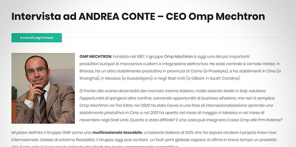 Intervista ad ANDREA CONTE – CEO Omp Mechtron