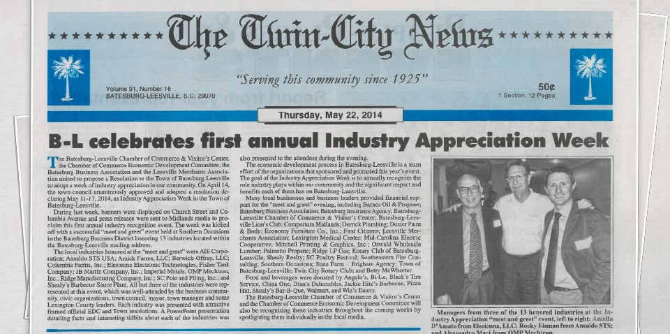 "OMP Mechtron LLC joined its first ""Industrial Appreciation Week"""