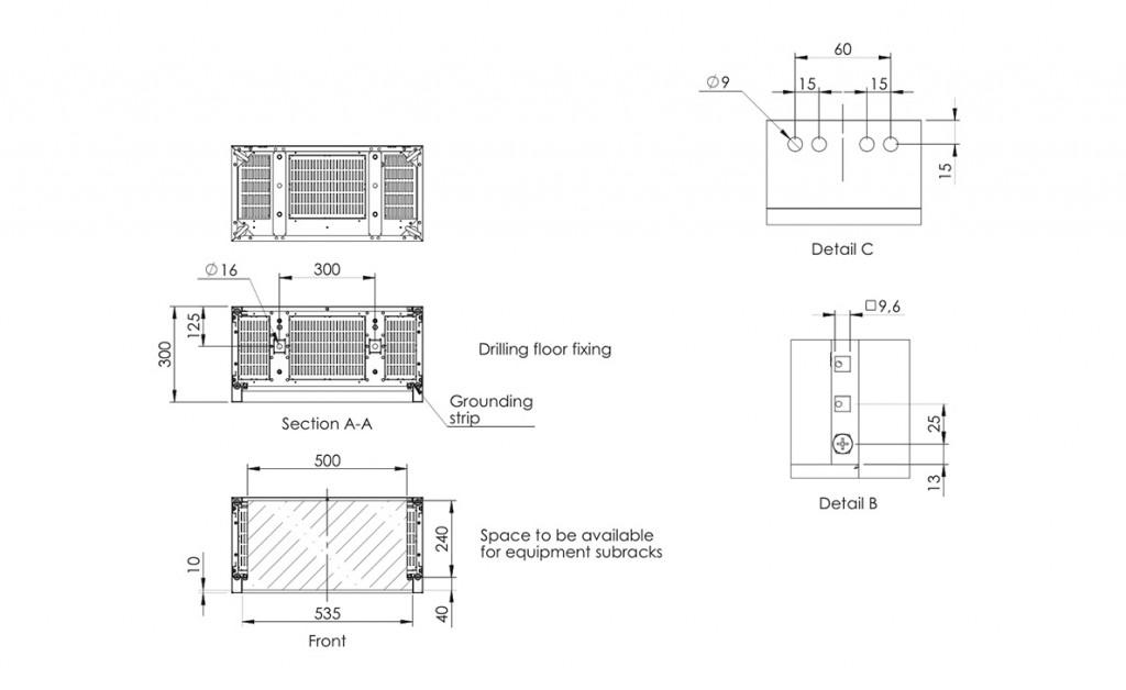 ETSI Rack cabinet 600 X 300 X 2200